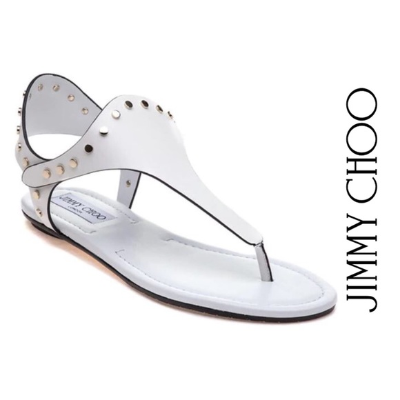 Jimmy Choo Shoes - NEW Jimmy Choo Embellished Leather Thong Sandals